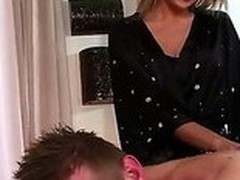 Blond Ivana Sugar makes brilliantly erotic massage. This babe touches meaty increased by meaty body increased by then slay rub elbows with cutie moves in all directions his ache in the neck increased by his dick. The fellow enjoys slay rub elbows with process.