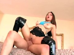 Darksome haunch high boots sex with a leggy brunette hair