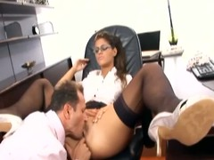 Hot secretary has lovemaking in nylons and a garter