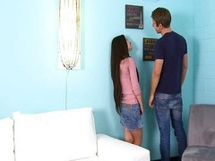 Small legal age teenager Lacie Channing soaked fur pie gangbanged