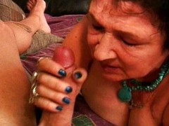 Lascivious granny swallows jock