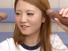 This sexy, saleable Japanese gymnast is reachable yoke engulf off yoke guys. After stretching, that babe caresses the yoke rods previous to engulfing on them. That babe licks increased by sucks until that babe receives cum on all sides over her face increased by shirt.