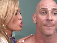 Johnny Sins is not feeling well so this guy goes to Dr. Amber Lynn to check chattels out. amber is a beautiful, experienced Fifty kingdom grey golden-haired goddess. This babe sucks his wang and gives him a ripsnorting tit fuck to make him feel much better.