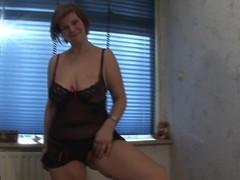 Big titted Desiree masturbates on daybed