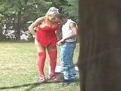 Lusty t-girl in red stockings bending in say no to boyfriend for alfresco anal