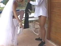Sex-addicted lady-boy bride taking blunt appreciation from her oddball wedding