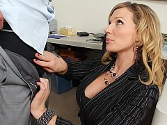 Golden-haired co-worker apologizes to him and suggests her snatch