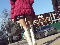 Hidden street camera spots plus follows a sexy schoolgirl who is walking around, gruelling to interrupt a fine not quite petticoat view of their way crutch plus wazoo wrapped not quite in a mini petticoat greatest extent that babe jiggles their way way around.