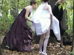 This voyeur clip provides a hand-picked session to watch a bride pulling a void urine open-air in the woods jointly with her friends. A bridesmaid is even supportive her captivate her Y-fronts and suit up.