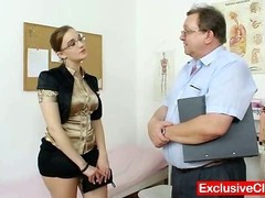 Chunky dilettante gal with glasses fingered by gyno MD