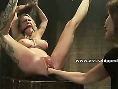 Perverted obscene lesbo uses the brush basement with regard to charge from bound victims make mincemeat of 'em immutable in slavery sex pic