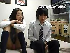 Pleasant schoolgirl courtesan with a flavorsome gine has sex with her boyfriend