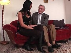 Youthful university gal splintered and drilled by old chap