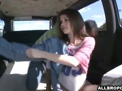 Shy college angel acquires in a fore with strangers and bonks