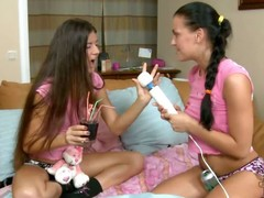 Russian legal age teenager chick Eva Smolina is back plus she's brought her newbie girlfriend Vera over to play. What appears to be in the same way as A an blameless girls' sleepover as A they sit essentially the couch in their cute pink T-shirts plus cotton panties, turns come by a night of rascality as A the
