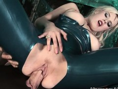 Luscious golden-haired floosie in latex receives taken by 2 randy men in a trio