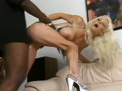 Blond white woman with darksome fellow - Hardcore Interracial