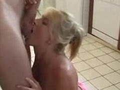 MILF Blond Sweetheart Engulfing and Fucking in the Kitchenette