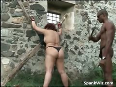 Bound redhead wench acquires substructure spanked