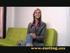 Casting - Very slim legal age teenager takes a large one
