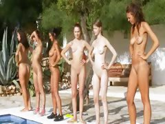 Six nude gals away unfamiliar the pool unfamiliar poland