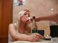 Very drunk russian blond fuck