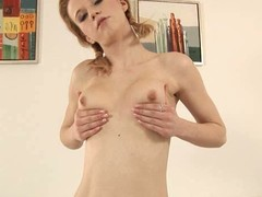 Dissipated honey is stuffing her be captivated by holes with sextoys