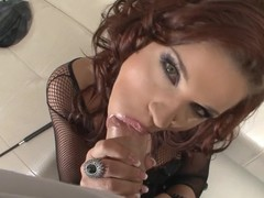 Gal down on the brush knees reachable to suck some rod in this POV