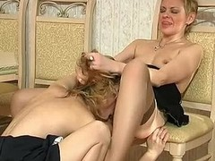 Naughty French maid caught with a sex toy giving fine oral-sex job to mature lady