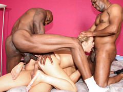 Lewd Shani Reid is gang group-fucked by 3 big darksome schlongs.