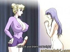 Busty manga lady-man bonks the shit out of her sexy friend