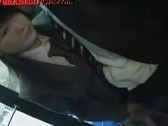 Jap Schoolgirl Gives Tugjob On Bus