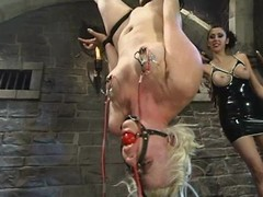 Blond Receives a Moist Cum-hole round Lesbo S&m Session wide Toying and Punishment