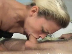 Golden-haired widen out gives deepthroat oral-job in a assembly room