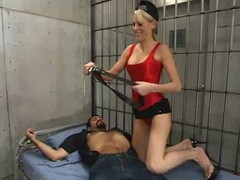 Kirmess playgirl Audrey Leigh punishes and copulates Ricosf connected with a jail