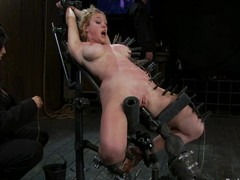 Darling acquires pinched and drilled at the end of one's tether a sensual knowledge machine in S&m vid