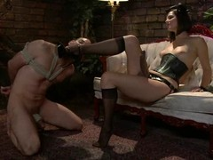 Jason Miller receives whipped and toyed by his naughty bit of petticoat