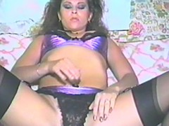 Retro youthful gentleman is masturbating her hawt and curly cum-hole