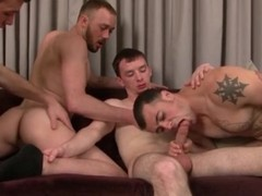Homosexual foursome with licking and engulfing