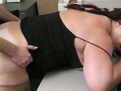 Bbw takes it hard foreigner behind by co worker