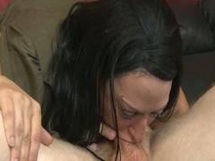 Deepthroated slut throws up