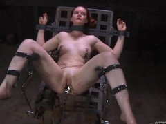 Enticing sweetheart's ravishing nipps acquires painful torturing