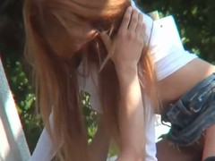 Japanese voyeur fuck in rub-down the park